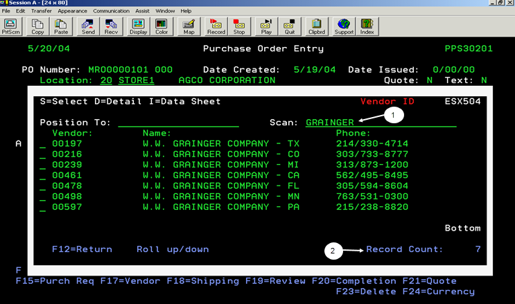 Purchase Order Entry Screen